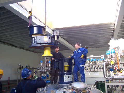 Installation of tank and mixer system